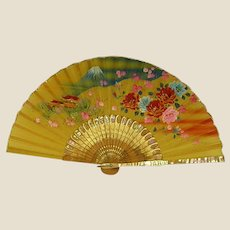1950s Painted Silk Fan with Mother of Pearl