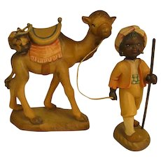 "ON HOLD FOR RA - ANRI Camel and Camel Guide from 6"" Nativity Set by Juan Ferrandiz"