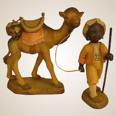 "ANRI Camel and Camel Guide from 6"" Nativity Set by Juan Ferrandiz"