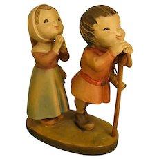 """ANRI """"Reverence"""" Boy and Girl from 6"""" Nativity Set by Juan Ferrandiz"""