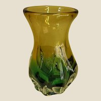 Beautiful Teal and Golden Yellow Studio Art Glass Vase