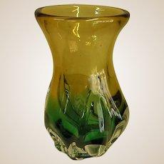 Beautiful Teal and Golden Yellow Studio Art Glass Vase