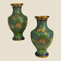 Beautiful Pair Asian Cloisonné Vases
