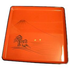 1950s Japanese Lacquerware Footed Tray