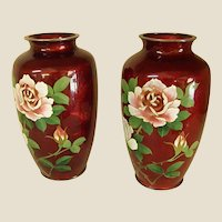 Pair of Japanese Gin Bari Cloisonné Vases