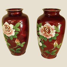 Pair of Japanese Gin Bari Cloisonné Vases