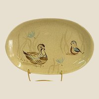 Mid-Century Bob White Pattern by Red Wing Quail Oval Serving Platter