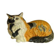 Lifesize Hand Decorated Ceramic Calico Cat