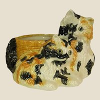 Signed Hand Decorated Ceramic Kitty Planter