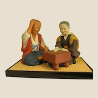 Endearing 1950s Hakata Dolls Clay Figures of Old Japanese Couple