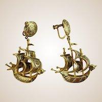 Intriguing Screw-back Ship Earrings