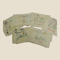 Adorable Set of Hand Stitched Cat Courtship Kitchen Towels
