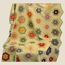 Cheery Old Hand Stitched Summer Weight Flowery Quilt