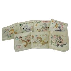 Darling Set of Seven Hand-stitched Good Luck Cat Towels