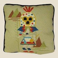 1970s Hopi Kachina Needlework Pillow