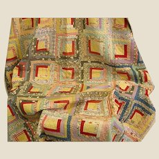 Colorful Old Hand-Stitched Log Cabin Quilt