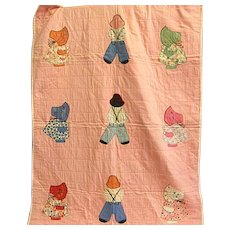 Adorable Sun Bonnet Girl and Boy Baby Quilt