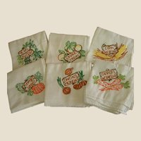Set of Six Old Embroidered Kitchen Towels