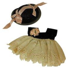 1950s Vogue Ginny Doll Eyelet and Black Velvet Dress with Bonnet