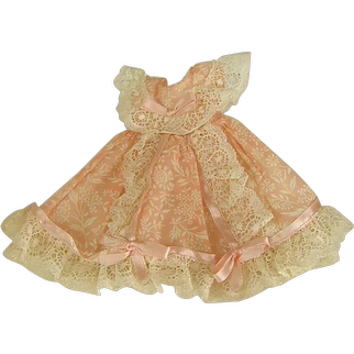 1950s Vogue Ginny Doll Pink Organdy Dress with Lace and Ribbon