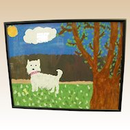 Cute Primitive Painting of a Dog and Bone