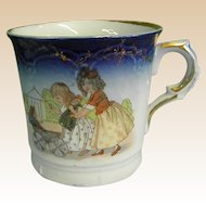 Precious 19th Century Child's Flow Blue Transferware Cup