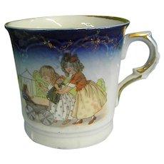 Precious 19th Century Child's Flow Blue Transferware Cup