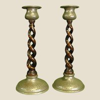Pair of 1920s Unity Pewter and Open Barley Twist Candlestick Holders