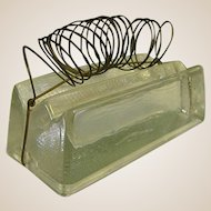 Great Old Solid Glass Pen Holder, Paperweight, Letter Holder