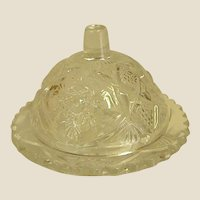 Darling Little Doll or Toy Pressed Glass Covered Butter Dish