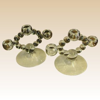 Pair of Candlewick Three-Light Candlestick Holders