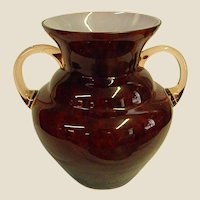 Beautiful Deep Mottled Cranberry Cased Kralik Handled Vase