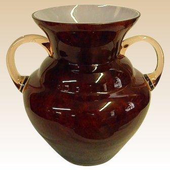 Beautiful Deep Mottled Cranberry Cased Kralik Handled Vase