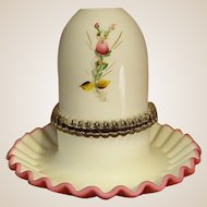 Fenton Cased Satin Glass Fairy Lamp with Hand-Painted Flowers
