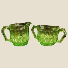 Green Depression Glass Creamer and Sugar