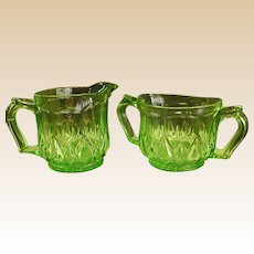 Green Depression Glass Creamer and Sugar