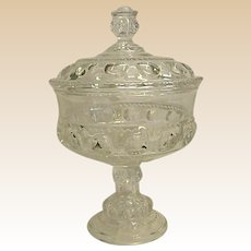 1800s XLCR aka King's Crown Covered Compote by Adams Glass Co.