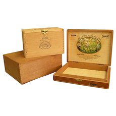Set of Three Vintage Wooden Cigar Boxes