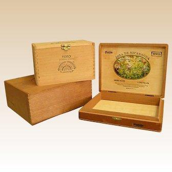 Set of Three Vintage Wooden Cigar Boxes