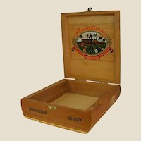 Small Wooden Cigar Box with Nice Interior Graphics
