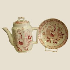 Darling Victorian Red Transfer Ware Child's Teapot and Bowl