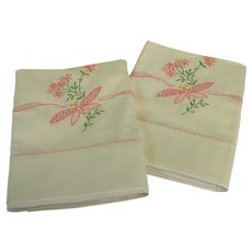 Lovely Vintage Hand Embroidered Pillow Cases
