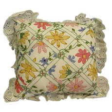 Vintage Cross Stitch Pillow with Colorful Flowers and Eyelet Lace Trim