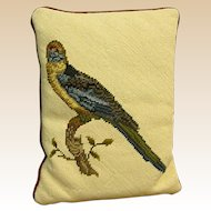 Vintage Needlepoint Pillow with Colorful Bird