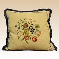 Vintage Needlepoint Pillow with Fruit Design