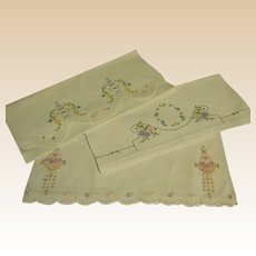 Set of Vintage Embroidered Hand/Guest Towels