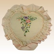 Vintage Heart-Shaped Floral Needlework Pillow