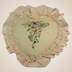 Vintage Heart-Shaped Floral Needlework Pillow