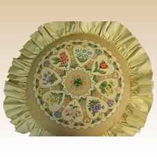 Vintage Round Needlepoint Pillow with Hearts and Flowers