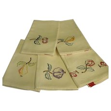 Great Set of Five Hand Embroidered Kitchen Towels